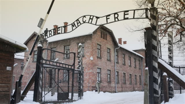 ms shot of main entrance gate at auschwitz with snow rain / auschwitz-birkenau, krakow, poland - konzentrationslager stock-videos und b-roll-filmmaterial