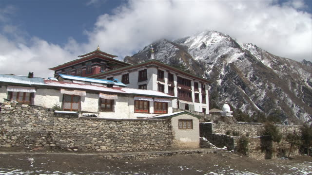 ws  zo shot of main gompa building at tengboche monastery / tengboche,  khumbu region, nepal - khumbu stock videos and b-roll footage