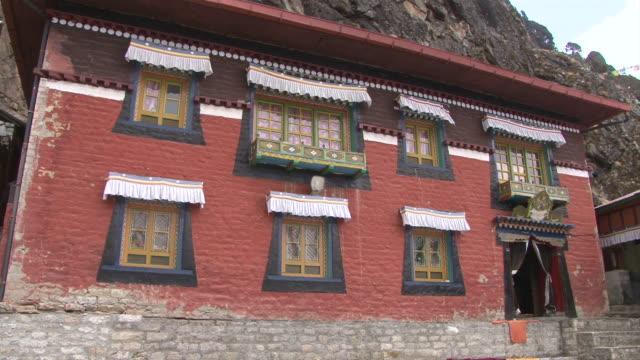 ms shot of main gompa building at thame monastery / thame, khumbu region, nepal - khumbu stock videos and b-roll footage