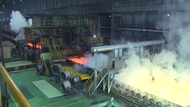 MS Shot of making process steel in iron foundry plant / Gwangyang, Jeollanamdo, South Korea