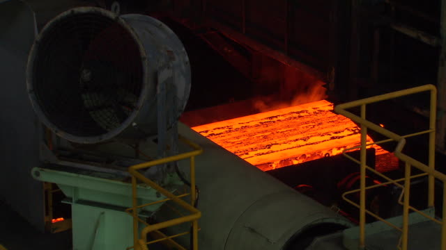 ms shot of making process steel, molten steel bar at end of production / gwangyang, jeollanamdo, south korea - steel stock videos & royalty-free footage