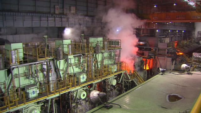 MS Shot of making process steel, molten steel bar at of production / Gwangyang, Jeollanamdo, South Korea