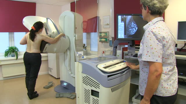 ms shot of mammographic screening for breast cancer prevention / wiesbaden, hesse, germany - 乳がん点の映像素材/bロール