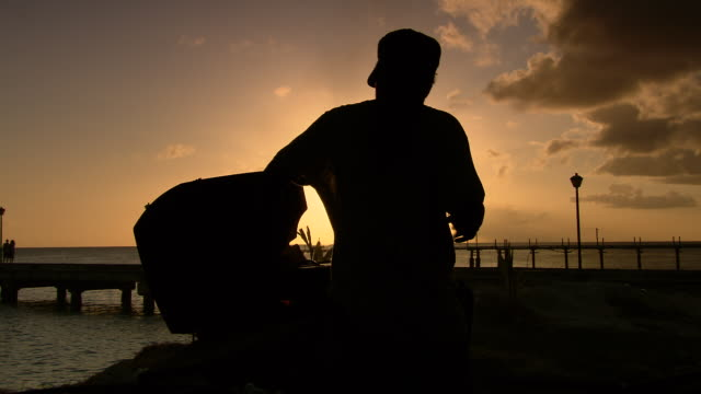 ms shot of man barbequing with sunset / bridgetown, saint michael, barbados - bbq stock videos & royalty-free footage