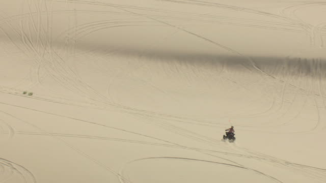 ms aerial ts shot of man driving all terrain vehicle in sand dune at sand mountain in churchill county / nevada, united states - quadbike stock videos & royalty-free footage
