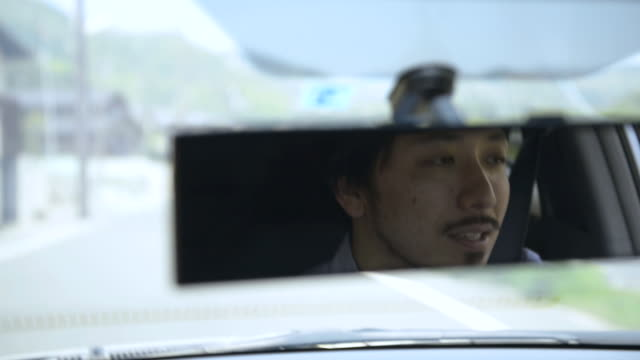 Cu Pov Shot Of Man Driving Car Kyoto Japan