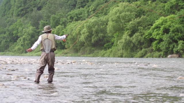 vídeos de stock, filmes e b-roll de ms slo mo shot of man in fishing gear tossing out line into stream (fly fishing) / jeongseon, gangwon do, south korea - extremo oriente