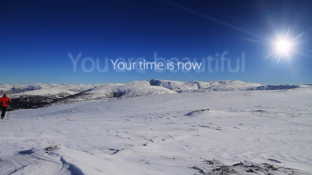 ms shot of man skiing to top with beautiful words / bergen, hordaland, norway - motivation stock-videos und b-roll-filmmaterial