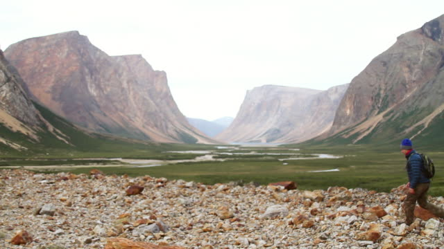 ws shot of man walking on rocky stones with mountains and valley / torgat mtns, labrador, canada - wiese stock videos & royalty-free footage