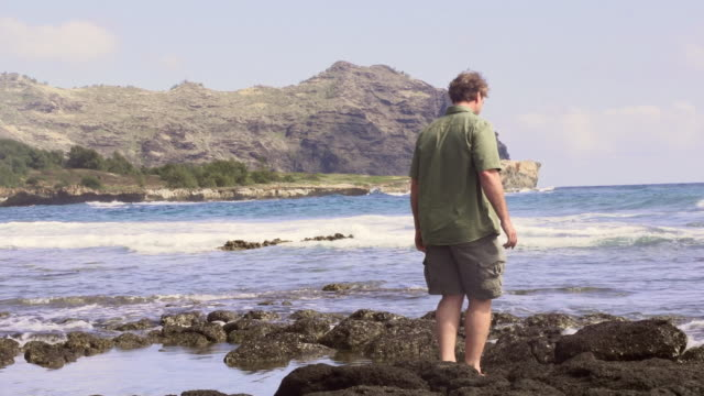 ms ts shot of man walking out onto rocks and looking out onto ocean water - wiese stock videos & royalty-free footage