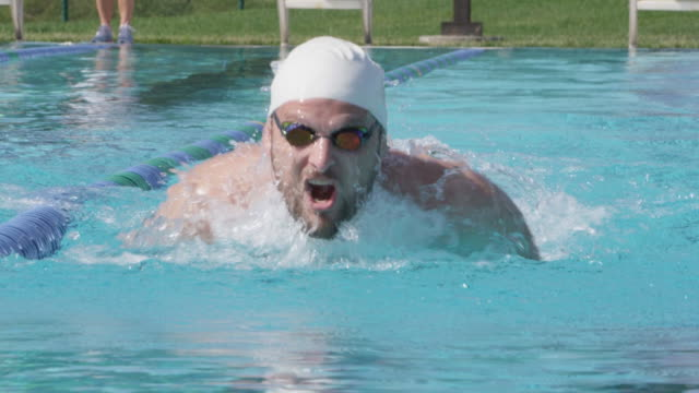 cu slo mo shot of man with beard in swim cap swimming butterfly stroke / davis, california, united states  - swimming cap stock videos & royalty-free footage