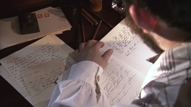 cu zi shot of man writing in his diary / middleburg, virginia, united states - diary stock videos & royalty-free footage