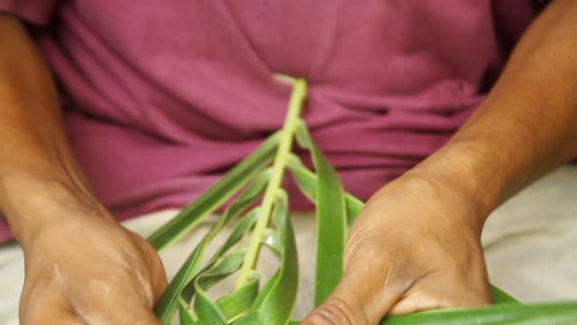 CU Shot of mans hands weaving palms / aguacate, toledo, belize