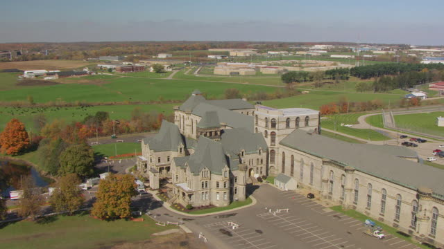 WS DS ZI AERIAL Shot of Mansfield Correctional Institution in Richland County / Mansfield, Ohio, United States