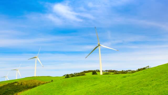 stockvideo's en b-roll-footage met shot of many activating vertical axis wind turbines in samnyangmokjang pasture - vier dingen