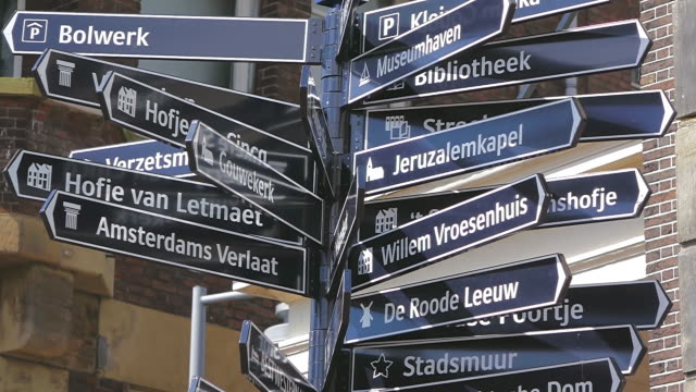 cu shot of many sign boards / south holland, netherlands - south holland stock videos and b-roll footage
