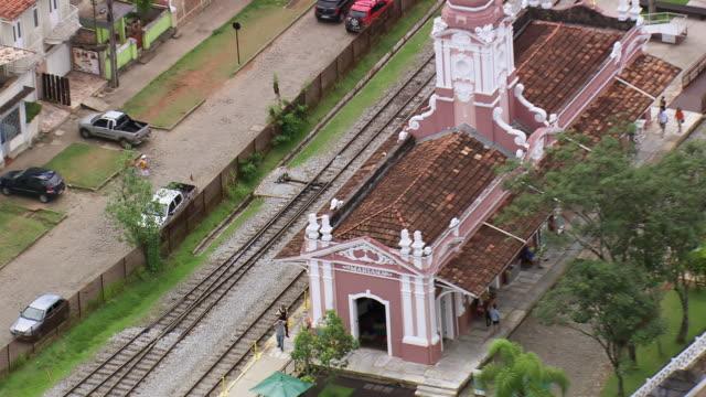 cu aerial zo shot of mariana station / minas gerais, brazil - minas stock videos and b-roll footage