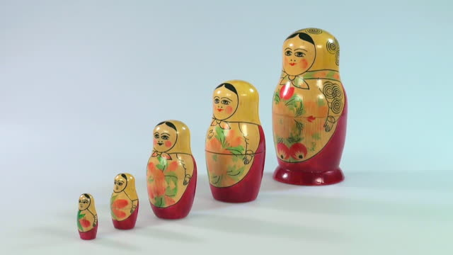 ms shot of matryoshka dolls, russian dolls / saarburg, rhineland palatinate, germany - cinque oggetti video stock e b–roll
