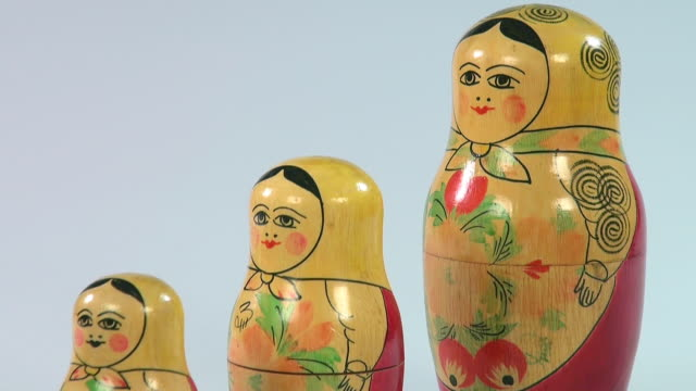 cu shot of matryoshka dolls, russian dolls / saarburg, rhineland palatinate, germany - tre oggetti video stock e b–roll