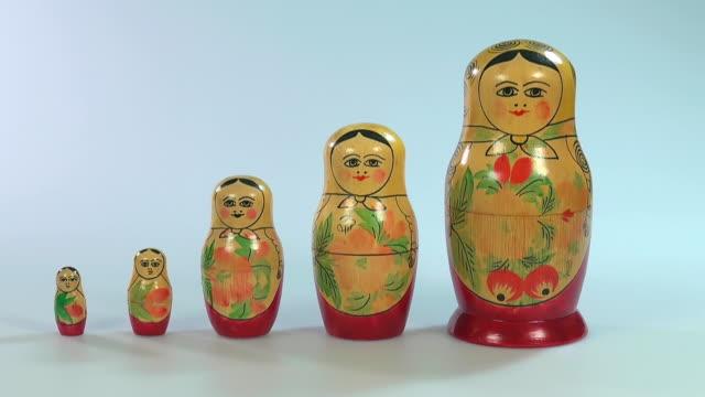 ms shot of matryoshka dolls, russian dolls / saarburg, rhineland palatinate, germany - five objects stock videos & royalty-free footage
