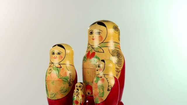 ecu shot of matryoshka dolls, russian dolls / saarburg, rhineland palatinate, germany - man made object stock videos & royalty-free footage