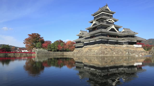 MS Shot of Matsumoto Castle near river / Matsumoto, Nagano Prefecture, Japan