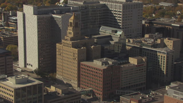 MS AERIAL Shot of Mayo Clinic buildings / Rochester, Minnesota, United States