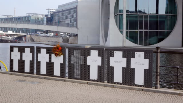 CU Shot of memorial for victims of the Mauer, DDR near Reichstag / Berlin, Germany