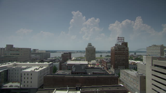 ws shot of memphis skyline / memphis, tennessee, united states - memphis tennessee stock videos and b-roll footage