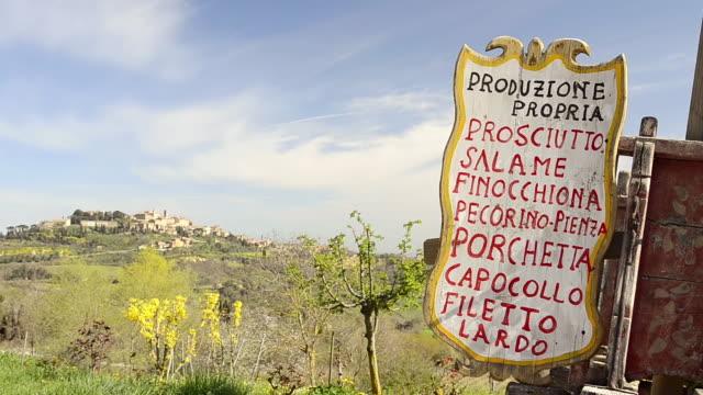 ms shot of menu and city view / montepulciano, tuscany, italy - montepulciano stock videos & royalty-free footage