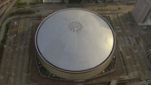 ms aerial shot of mercedes benz superdome / new orleans, louisiana, united states - mercedes benz stock videos and b-roll footage
