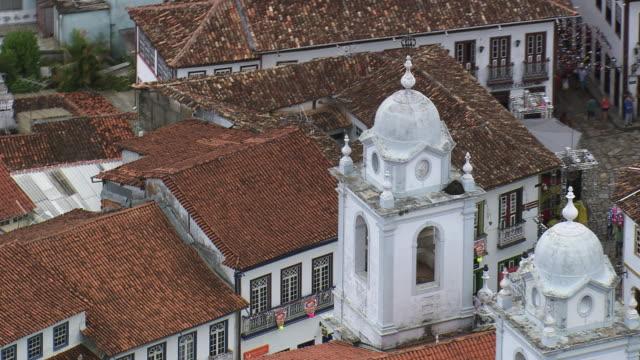 ms aerial shot of metropolitan cathedral / minas gerais, brazil - minas stock videos and b-roll footage