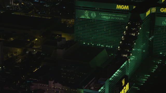 ms aerial shot of mgm grand casino / las vegas, nevada, united states - mgm grand las vegas stock videos & royalty-free footage