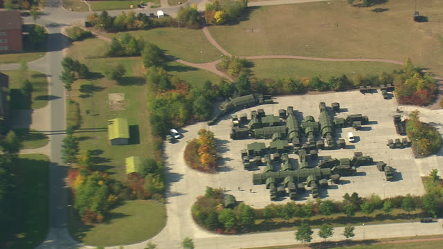 ms zi aerial shot of military camp / germany - military camp stock videos & royalty-free footage