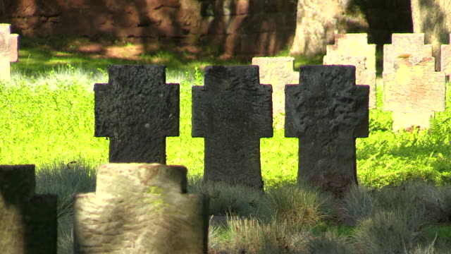 MS Shot of military cemetery with sandstone crosses / Kastel Staadt, Rhineland Palatinate, Germany