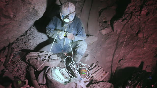 shot of miner working at potosi mountains / potosi, bolivia - bolivia stock videos & royalty-free footage