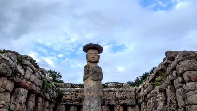 shot of mireungniseokjoyeolaipsang(standing stone statue, korea treasure 96) in mireukdaewonji(korea historic place 197) - antiquities stock videos and b-roll footage