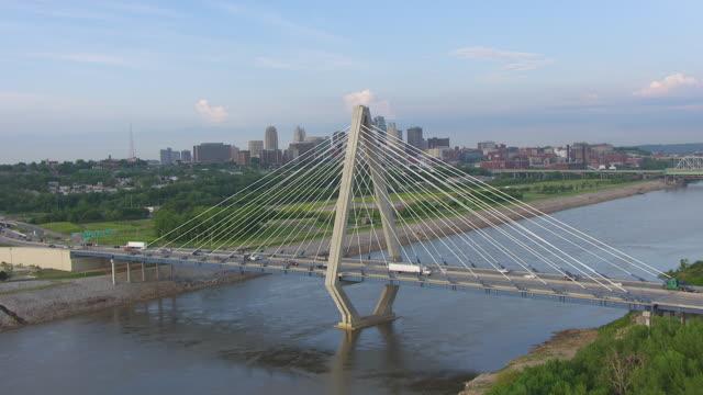 MS AERIAL TU Shot of Missouri River and Christopher S Bond Bridge with downtown / Kansas City, Missouri, United States