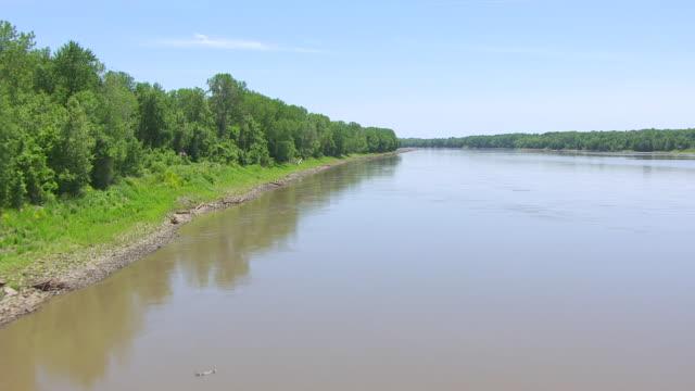 ws aerial la shot of missouri river in cooper county / missouri, united states - missouri stock videos & royalty-free footage