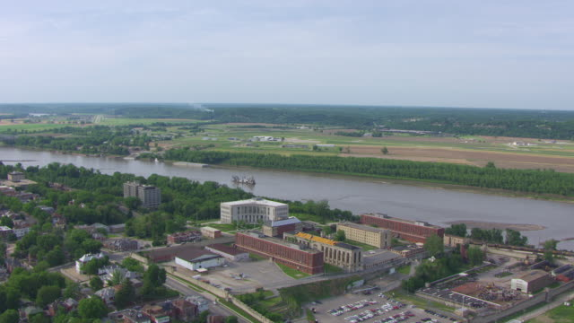 WS AERIAL DS Shot of Missouri State Penitentiary and Missouri River in background / Jefferson City, Missouri, United States