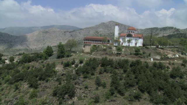 WS AERIAL Shot of Moni  Vazenova Monastery / Mt. Athos, Macedonia, Greece