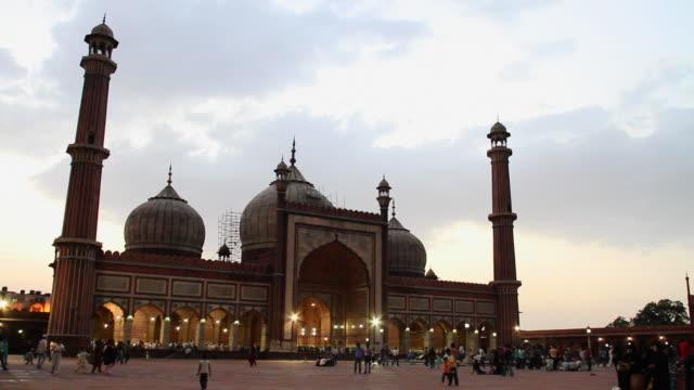 MS Shot of mosque at night (Jama Masjid) / Delhi, India