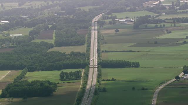 vidéos et rushes de ws aerial shot of motorway / aquitaine, france - aquitaine