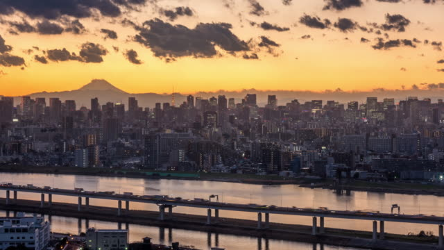ws shot of mount fuji and shinjyuku with skyscraper / tokyo, japan - stock video - business finance and industry stock videos & royalty-free footage