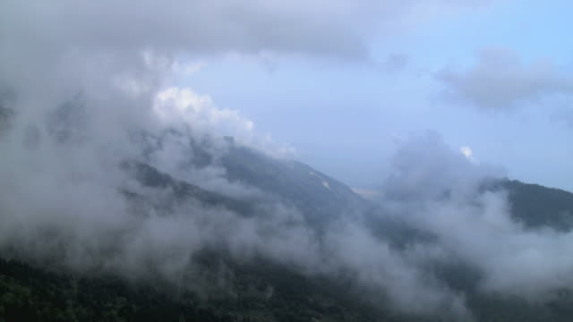 ws aerial shot of mount olympus covered with clouds / olympus, macedonia, greece  - macedonia country stock videos and b-roll footage