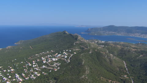 ms aerial shot of mountains near athens and tinos / athens, attica, greece - coastal feature stock videos & royalty-free footage