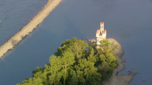 ms aerial shot of mouse castle on island in middle of river at rhine valley / germany - rhein stock-videos und b-roll-filmmaterial