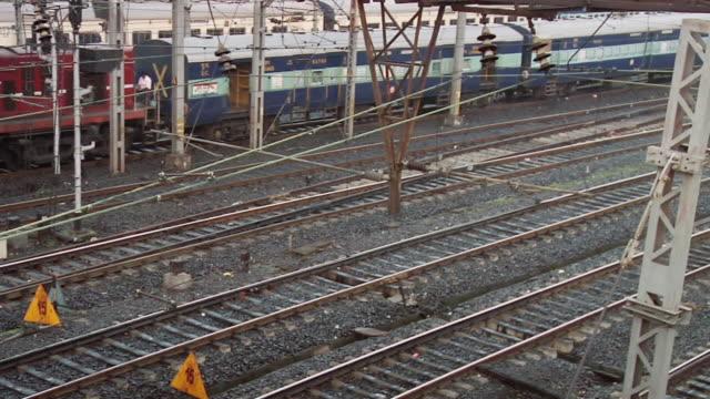 ms shot of moving trains / kolkata, west bengal, india - kolkata stock videos & royalty-free footage