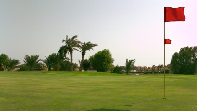 ws slo mo shot of mowing grass on golf corse / elgouna, red sea, egypt - golf course stock videos and b-roll footage