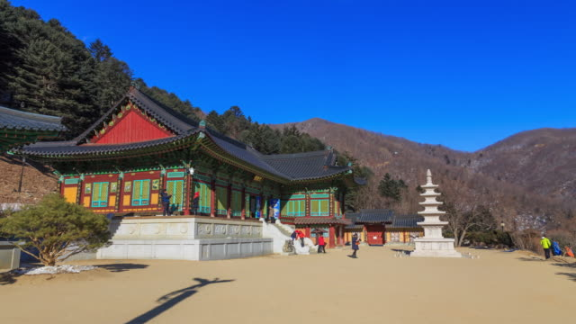 shot of munsujeon shrine and samcheungseoktap stone pagoda at sangwonsa temple in odaesan national park - besichtigung stock-videos und b-roll-filmmaterial